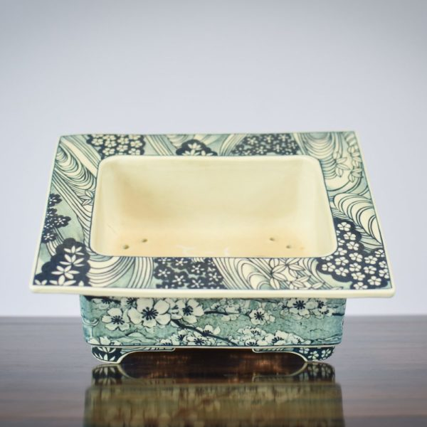 Stacy Allen Muse bonsai pot with detail paintings
